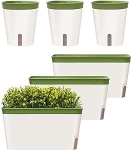 GardenBasix Self Watering Planter Pots Window Box for Indoor Plants Home Garden Modern Decorative Flower Pot for All House Herbs Succulents Set of 6 (6, Green)