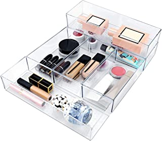 Mebbay 6 Pack Acrylic Drawer Organizer Trays Stackable, Clear Plastic Drawer Organizers for Makeup, Bathroom, Desk, Office, Kitchen, Utensil Vanity, Junk (3 Big and 3 Small)