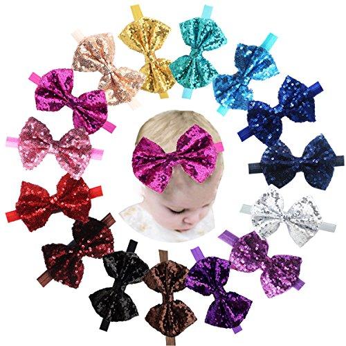 Baby Meisjes Hoofdbanden 15 stks Glitter Sparkly Pailletten Boutique Haar Boog voor Meisjes Tieners.