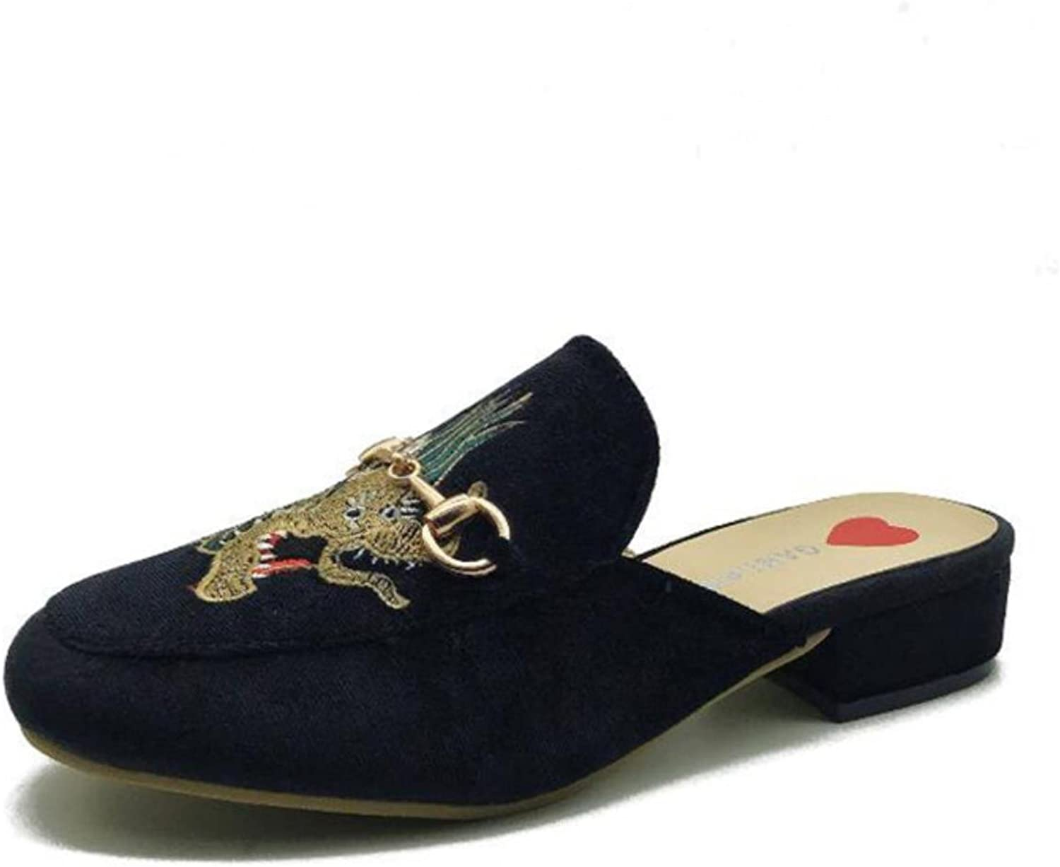 Women39;s Slippers Leather Embroidered Party With Home Slippers Casual shoes