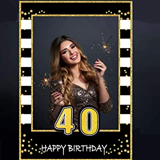 Glittery 40th Birthday Selfie Photo Booth Frame Black and Gold Birthday Party Photo Props - Upgraded Version with Support Cardboard