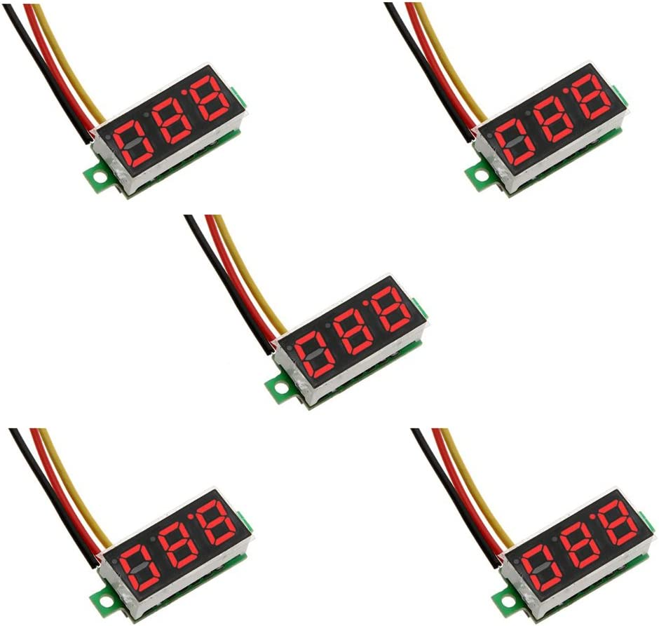 ZkeeShop 5Pcs Mini Digital Voltmeter D NEW before selling Free shipping on posting reviews 0.28 Three-Wire inch