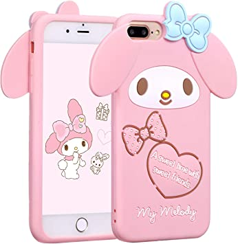 iPhone 7 Plus / iPhone 8 Plus My Melody Case,Soft Silicone 3D Cartoon Animal Cover,Kids Girls Rubber Kawaii Character Skin Shell (iPhone 7 Plus/iPhone ...