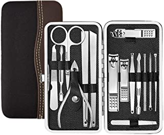 AMarkUp Manicure Set 15 In 1 Nail Clippers Pedicure Kit for Home Travel Professional Stainless Steel Cuticle Trimmer Remover Tool with Leather Case (Silver)