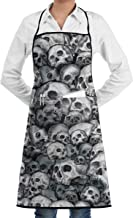 LALACO-Design Skull Pattern fd Cooking Women Kicthen Bib Aprons with Pockets for Chef,Grandma Suitable for Baking,Grilling,Painting Even Fit for Arts,Holiday