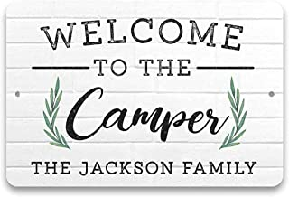 WDSLSING Welcome to Our Camper Sign Personalized RV Family Signs for Campers Funny Camping Sign Camper Accessories for Tra...