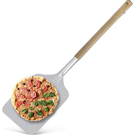 Pelle a Pizza en Aluminium Carrée 30x30cm - Grande Surface - Manche en Bois Amovible 83cm
