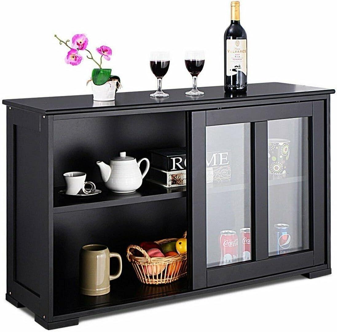 HUIJK Storage New arrival Outlet SALE Cabinet Sideboard Buffet Sliding Do Cupboard Glass