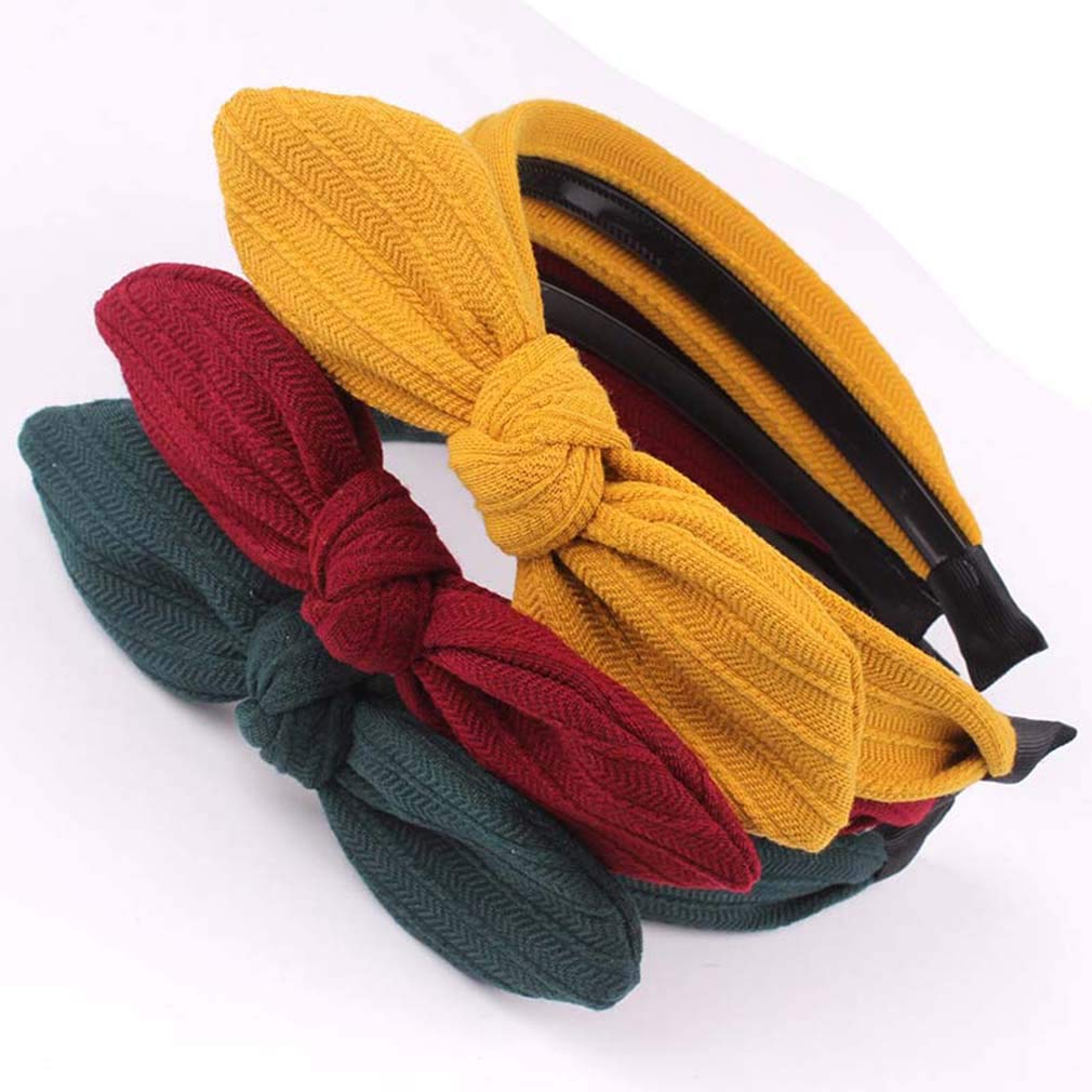 Towood Pack of 2 Woman Rabbit Ear headbands Solid Color Tie Hairhoops