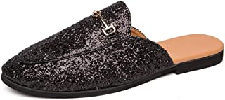 Men's Fashion Comfortable Outdoor Slippers Half Loafers For Men Outdoor Slippers Round Toe Slip On Sequin Synthetic Leather Lightweight Cozy Breathable Sewing Anti Slip Lazy Person Shoes Daily Wear Fa
