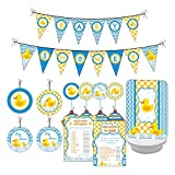 Rubber Ducky Baby Shower Party. Boy/Girl Baby Shower Party Decorations. Includes Party Games, Centerpieces, Bunting Banner, Danglers and Cupcake Toppers. (Blue, Yellow)