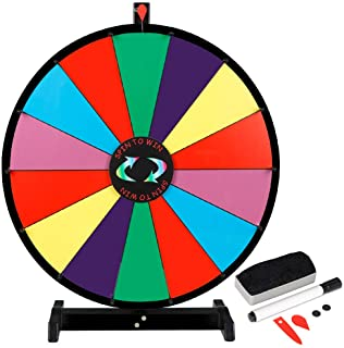 "Smartxchoices 24"" Tabletop Color Prize Spinning Wheel 14 Slots Prize Spinner with Dry Eraser & Marker Pen Editable Carnival Fortune Spin to Win Casino Trade Show"