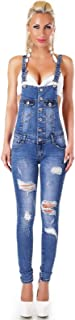 Nove and Nove Women's Ripped Dungaree Denim Jeans Overalls