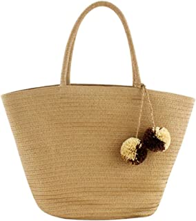 chinatera Summer Beach Bag, Straw Bag Top Handle Shoulder Bag Women Tote with Top Handles