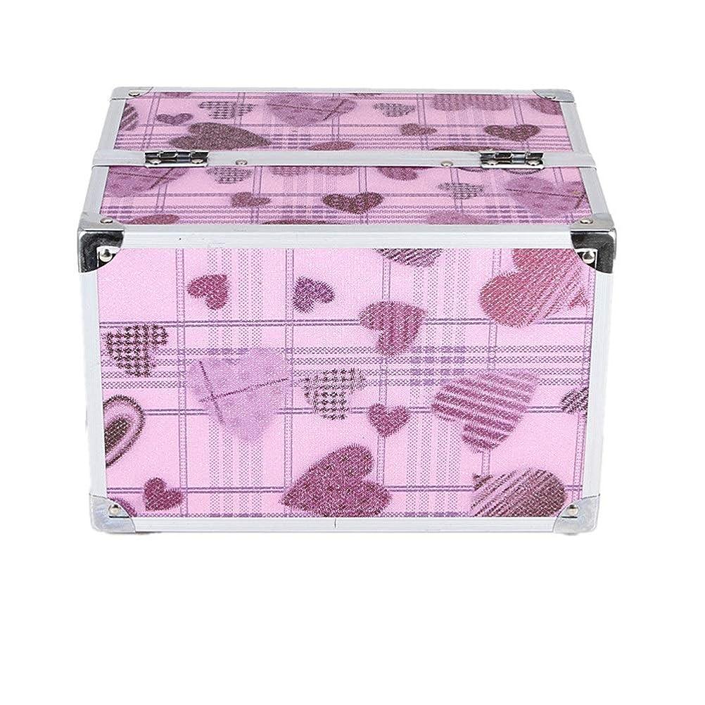 浪費ベアリングサークルルーチン化粧オーガナイザーバッグ かわいいハートパターントラベルアクセサリーのためのポータブル化粧ケースシャンプーボディウォッシュパーソナルアイテム収納トレイ 化粧品ケース