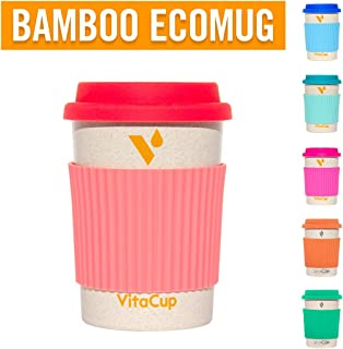 VitaCup Light Weight Coffee Tea Mug with Silicone Lid | Takeaway To Go Travel | Bamboo Fiber | Reusable Environmentally Eco Friendly Portable Dishwasher Safe |12 oz Cup (Coral)