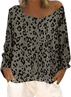 Remanlly Women Long Sleeve Tops Casual Loose Plus Size Round Neck Printed T Shirts Blouse Shirts