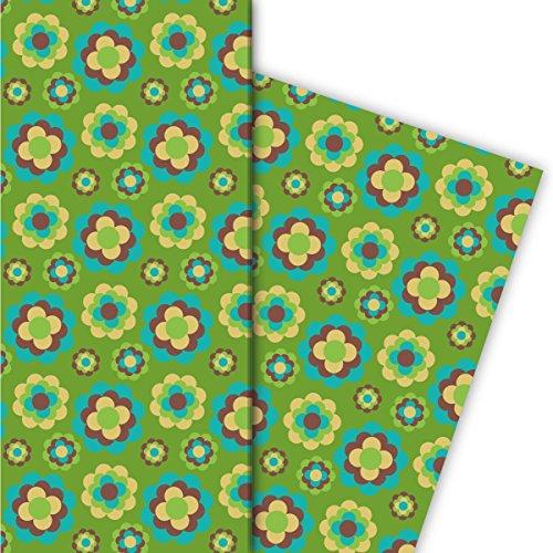 Kartenkaufrausch Grünes 70er Jahre Geschenkpapier Set mit Retro Streu Blüten für tolle Geschenk Verpackung, Designpapier, scrapbooking, 4 Bogen, 32 x 48cm