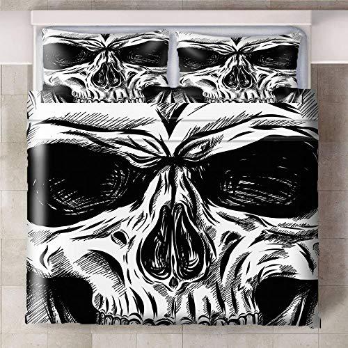 CQIIKJ Juego de Cama Impreso en 3D,Cráneo Blanco Negro Funda de edredón de Microfibra con Cierre de Cremallera, 2 Fundas de Almohada140x200cm