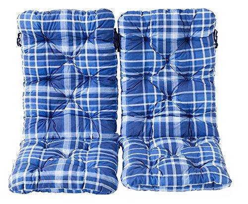Ambientehome 2er Set Hochlehner Auflage Kissen Hanko Maxi, kariert blau, ca 120 x 50 x 8 cm, Rückenteil ca 70 cm, Polsterauflage