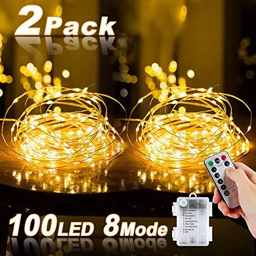 Lichterkette Batterie, 2er 10M 100 LED kupferdraht lichterkette 8 Modi Außenbeleuchtung Batteriebetrieben Wasserdichte IP67 mit Fernbedienung und Timer für Innen/Außen Weihnachten Dekoration