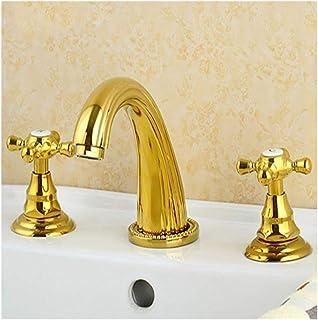 Todo el cobre antiguo de tres orificios Grifo lavabo doble manija del grifo caliente y frío baño grifo el grifo de fregade...