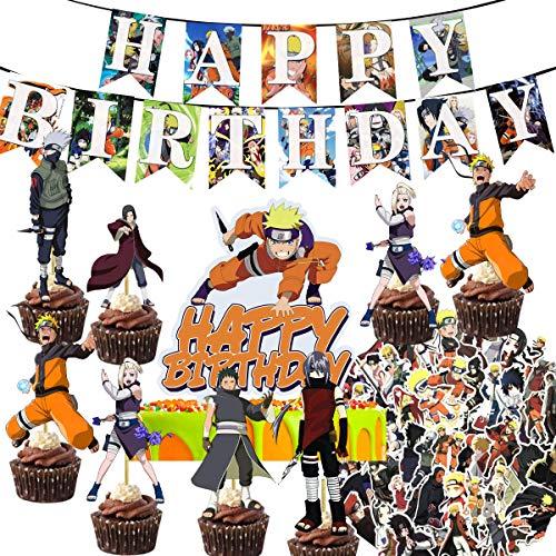 ESMAN Naruto Geburtstagsparty Supplies Themenparty Favors Dekorationen Banner Kuchen Topper Geschenk-Set 2 Banner 1 große Kuchen Topper 24 Cupcake Topper für Naruto-Fans Jungen Mädchen (Naruto-B)