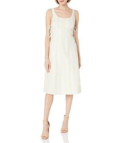 ASTR the Label Elena Lace-up Striped Sleeveless Fit Flare Linen Midi Dress