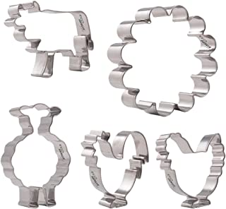 Farm Cookie Cutter Set - 5 pcs Stainless Steel easter hen rooster lamb tree Shaped - Vegetable Cutters Easy To Clean - Dec...