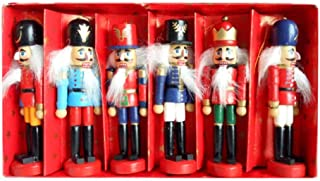 Forart 6Pcs Nutcracker Ornament Set Wooden Nutcracker Soldier Dolls Toy Christmas Tree Ornaments Home Party Decor Christmas Nutcrackers for Kids Xmas Gift