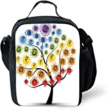 Unisex Lunch Box Insulated Lunch Bag Large Cooler bags for Men,Women and Kids - Yoga Tree with Branch of Chakra Icon Harmony in Nature Worship Physical Force Theme