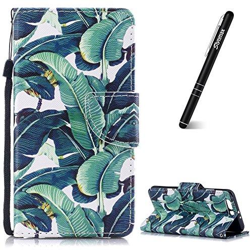 Slynmax Kompatibel mit Huawei P10 Plus Hülle Leder,Huawei P10 Plus Handyhülle Handseil Ledertasche Flip Wallet Case Lederhülle Silikon Tasche Schutz Brieftasche Schutz Huawei P10 Plus,Bananenbaum