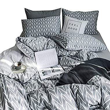 Luxury Geometric Duvet Cover Set Queen Leaves Printed Bedding Set Full 3 Piece Cotton Reversible Duvet Cover and Pillow Shams Boys Girls Duvet Cover Set with Zipper Closure and Corner Ties, Style2