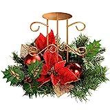 WeRChristmas-Decorazione Natalizia, 22 cm, Motivo: Agrifoglio, Foglie, Fiori, Decorazione Centrotavola con Supporto portacandela, Motivo Natalizio, Colore: Rosso/Oro