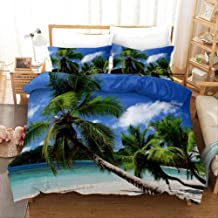 Duvet Cover Set, 3D Beach Scenery Home Textiles Luxury Bedding Set Linens Duvet Cover Set and Pillowcases Bedclothes EU Ki...