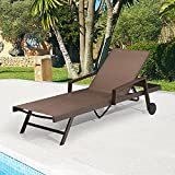 Pellebant Adjustable AluminumPatio Chaise Lounge Chair with 2 Wheels, 5 Positions and Lay Flat, Outdoor Recliners, Easy Assembly, All Weather Furniture for Beach, Pool and Yard, 1PC, Brown