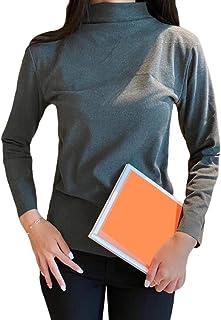 GUOCAI Women's Mock Neck Long Sleeve Solid Color Blouse T Shirts