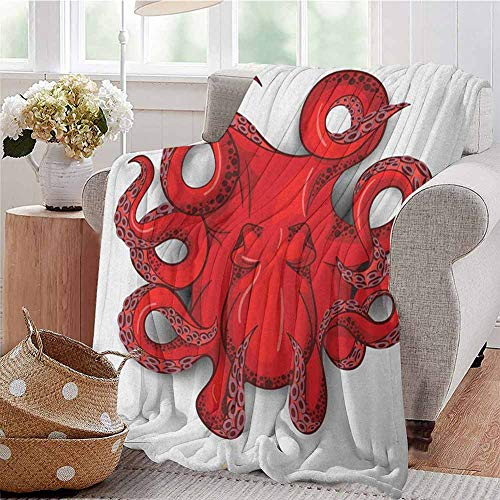 Luoiaax Octopus Children's Blanket Kraken Octopus with Shadow Tropical Seafood Marine Tentacle Simple Design Artwork Print Lightweight Soft Warm and Comfortable W60 x L50 Inch Red