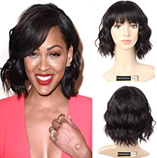 PANEWAY Human Hair Body Wave Wigs with Flat Bangs Brazilian Short Wavy Bob Wigs with full bangs Virgin Human Hair Wig for Black and White Women 130% Density Natural Color (10inch)