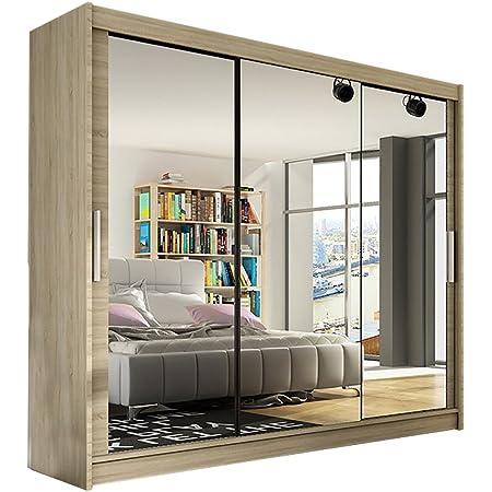 "Modern Wardrobe /""NOTSA 5/"" with Sliding Doors Mirror Hanging Rail Shelves 250 cm"