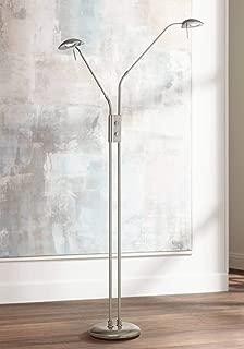 Casper Modern Pharmacy Floor Lamp LED Brushed Steel Adjustable Arm Swivel Head Dimmer Switch for Living Room Reading Office - 360 Lighting