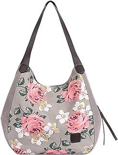 MINGZE MINGZE Canvas Tasche Damen, Shopper Bag Handtasche Henkeltasche Beuteltasche Segeltuch Vintage Freizeit Stylisch Graue Rose