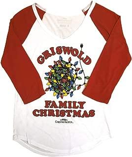 National Lampoon's Christmas Vacation Juniors Griswold Xmas Light Light Weight V-Neck Raglan T-Shirt