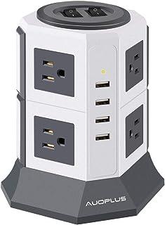 AUOPLUS 電源タップ タワー式 8個AC口 コンセント 4USBポート ハブ 一括スイッチ トリプルタップ oaタップ たこ足配線 延長コード 2m 雷ガード テーブルタップ (2段W)