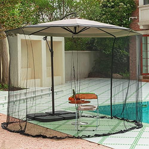 KITADIN 10FT Patio Umbrella Mosquito Net Cover Garden Umbrella Screen with One Zipper Door Suitable for Almost Outdoor Market Table Umbrellas & Especially Cantilever Offset Hanging Umbrella Tilt
