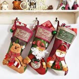 Coindivi Christmas Stocking Set of 3 with 3D Snowflake Santa, Snowman, Reindeer, 20' Personalized Xmas Stockings for Trees, Wall, Classic Stocking Decorations for Holiday & Family Party