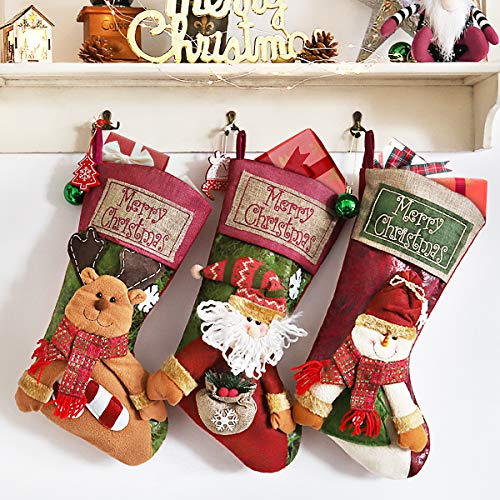 """Coindivi Christmas Stocking Set of 3 with 3D Snowflake Santa, Snowman, Reindeer, 20"""" Personalized Xmas Stockings for Trees, Wall, Classic Stocking Decorations for Holiday & Family Party"""