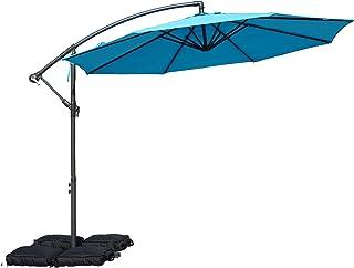 Kozyard 10` Offset Cantilever Hanging Patio Umbrella Large Market Style for Outdoor Balcony Table or Large Garden Terrace (Blue)