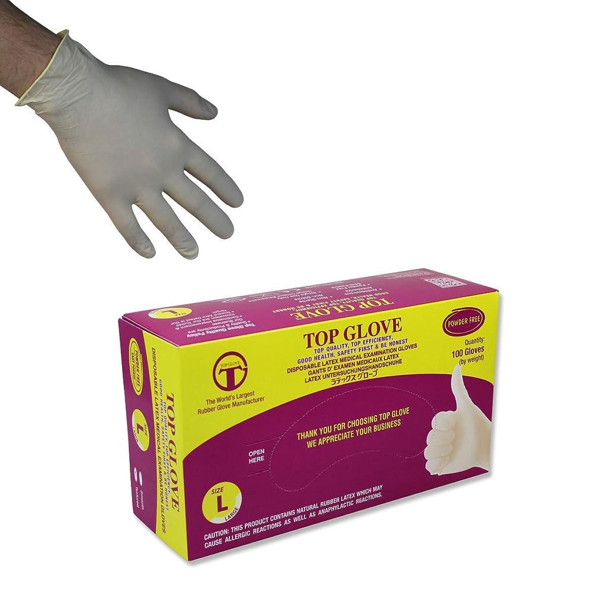 放射性する必要がある薄汚いトップグローブパウダーフリーの使い捨てラテックス手袋 - AQL 1.5-100個入り(ミディアム)
