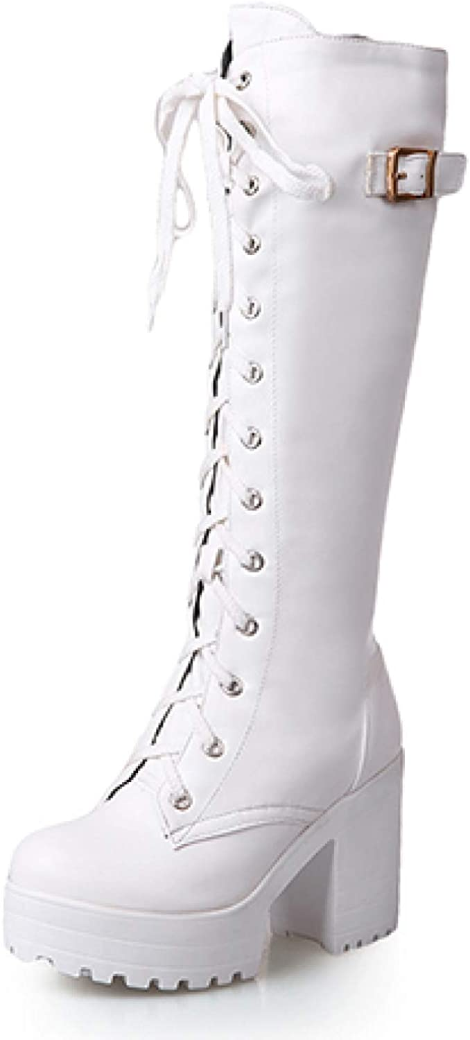 CYBLING Women's Chunky High Heel Knee High Boots Platform Buckled Strap Lace Up Military Combat Booties